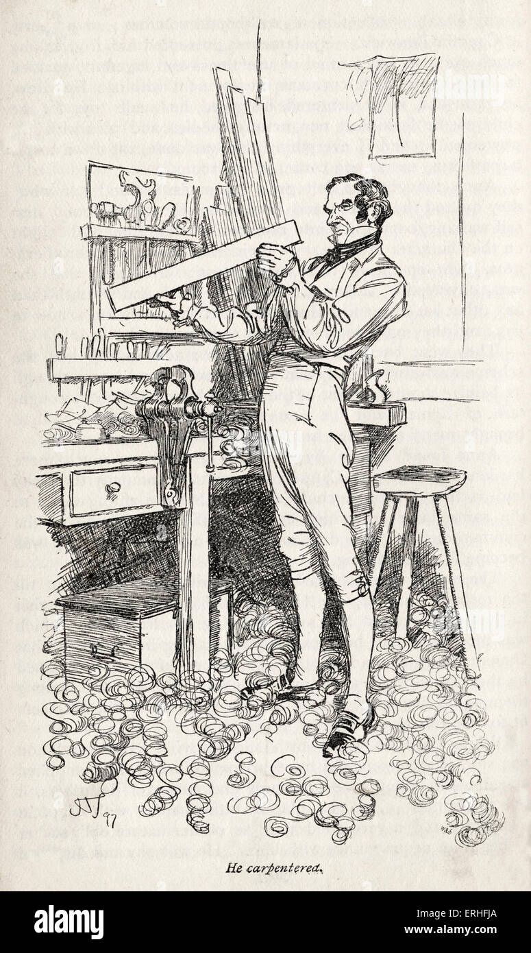 Jane Austen' s novel  ' Persuasion' - Written 1816 and published 1818.  Caption reads: ' He carpentered' - Stock Image