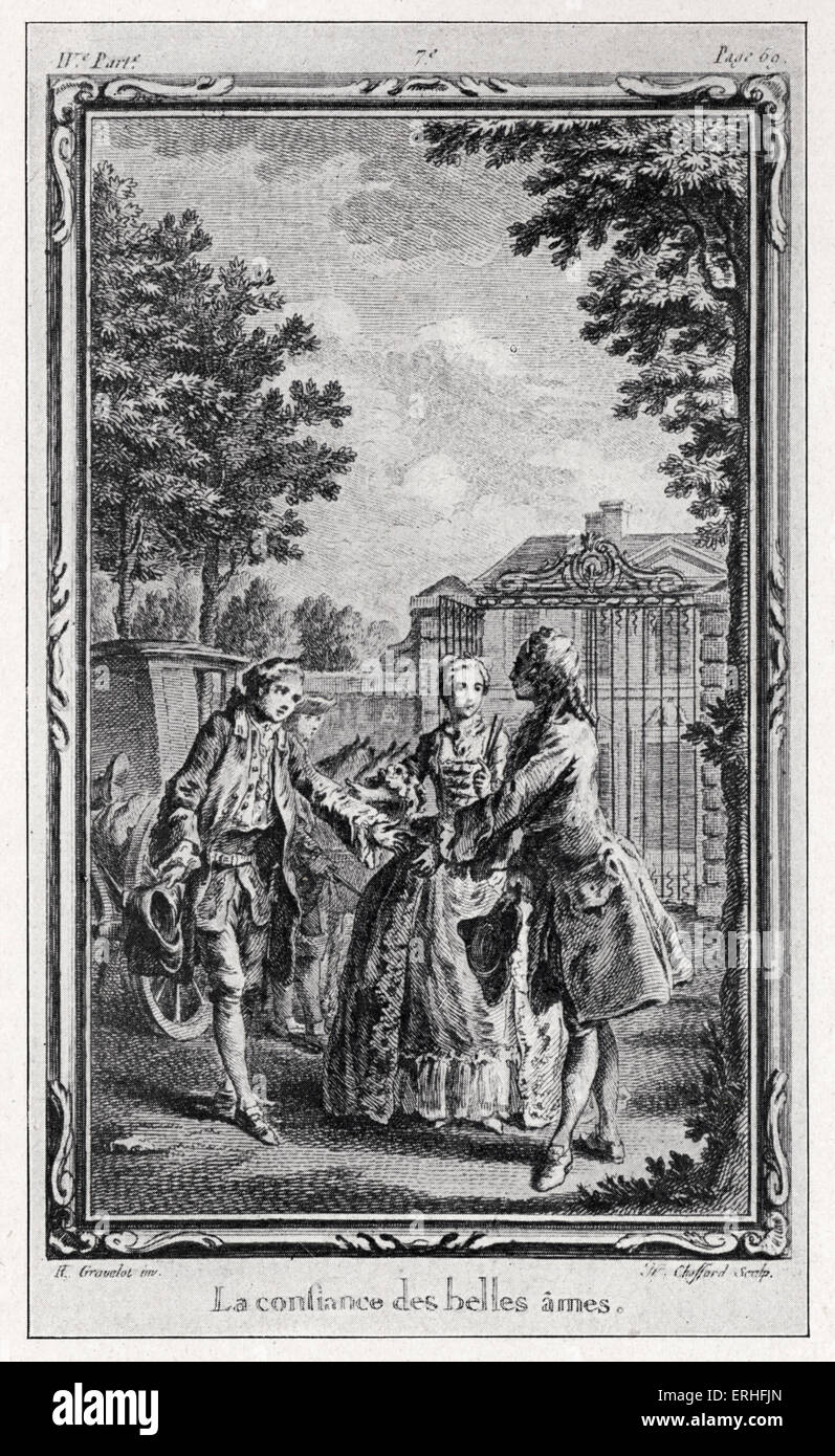 Jean-Jacques Rousseau, La Nouvelle Héloïse.  Illustration from 1761 edition (4th volume) - engraving by - Stock Image