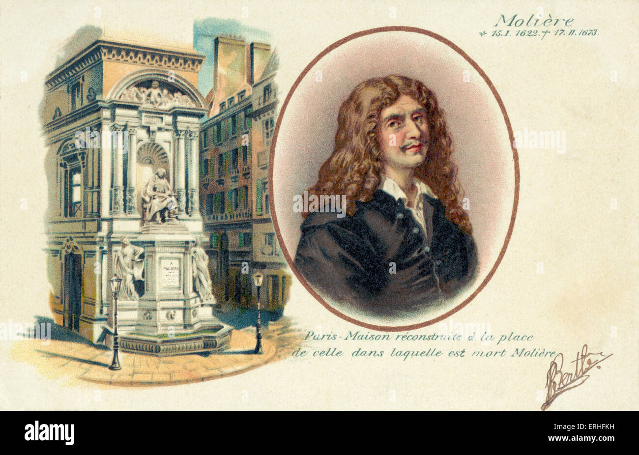 Moliere (real name Jan-Baptiste Poquelin) - portrait with illustration of monument dedicated to him - French dramatist, - Stock Image