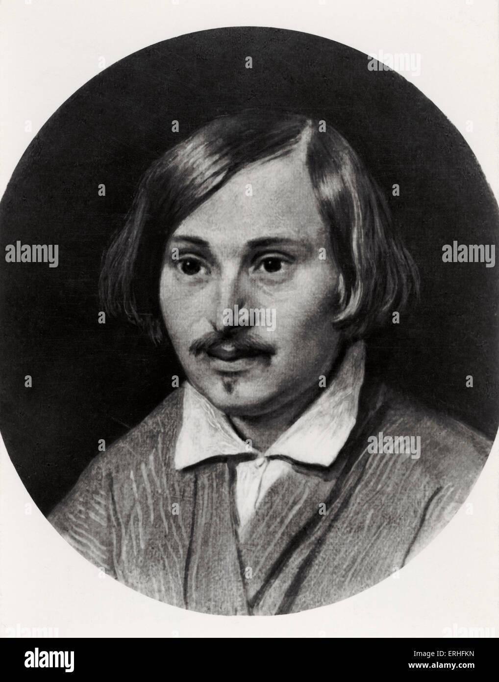 Nikolai Vassilievich Gogol - portrait by A A Ivanov. Russian novelist - 1809-1852 - Ivanov, Russian painter: 1806 - Stock Image