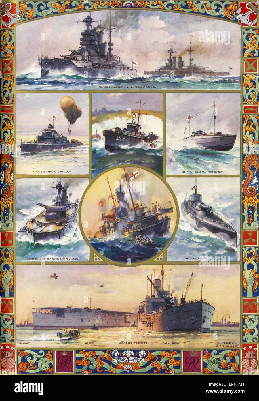 Battleships in British navy at the start of World War I - from painting by  C.E.Turner. Top image: 'Queen Elizabeth' - Stock Image