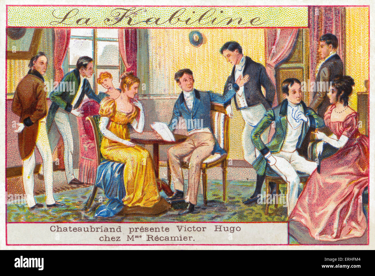 Literary salon - illustration of  Victor Hugo being introduced to Mme Recamier by Francois-Rene de Chateaubriand. - Stock Image