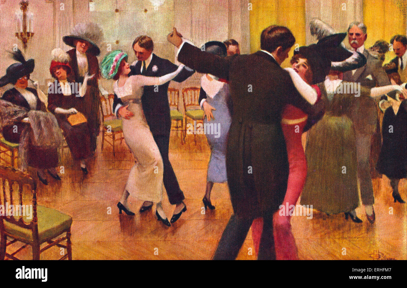 Tango lesson - with couples dancing, men in dinner jackets and spats, ladies in hats. Painted by Guillaume. - Stock Image