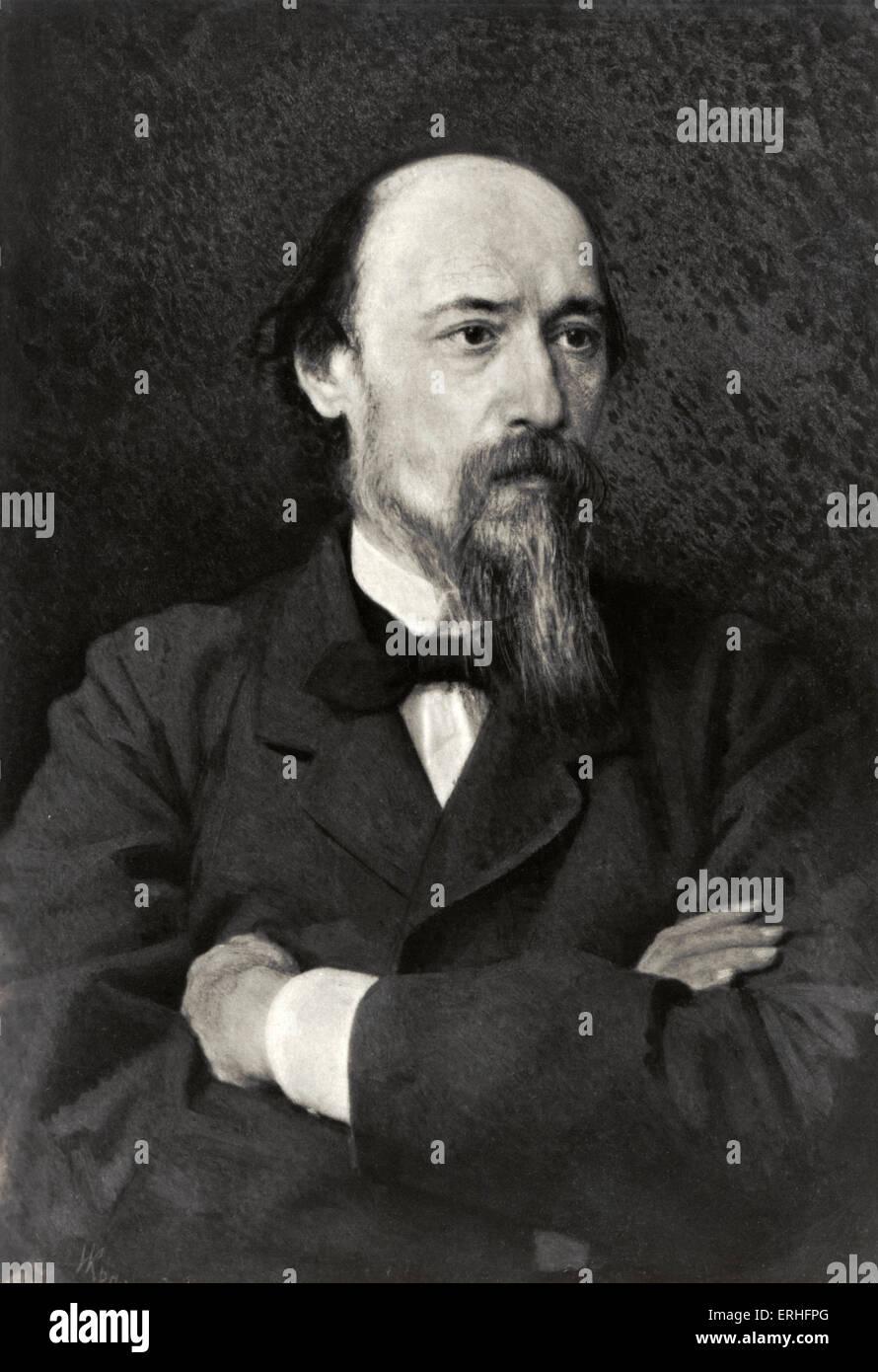 Nikolai Alekseyevich Nekrasov - portrait of the Russian poet. 28 November 1821 - 8 January 1878. - Stock Image