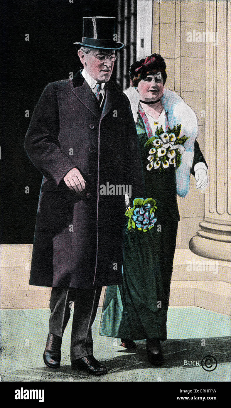 Woodrow Wilson  - American President of the United States (1913-1921) with his wife. 28 December 1856 - 3 February - Stock Image