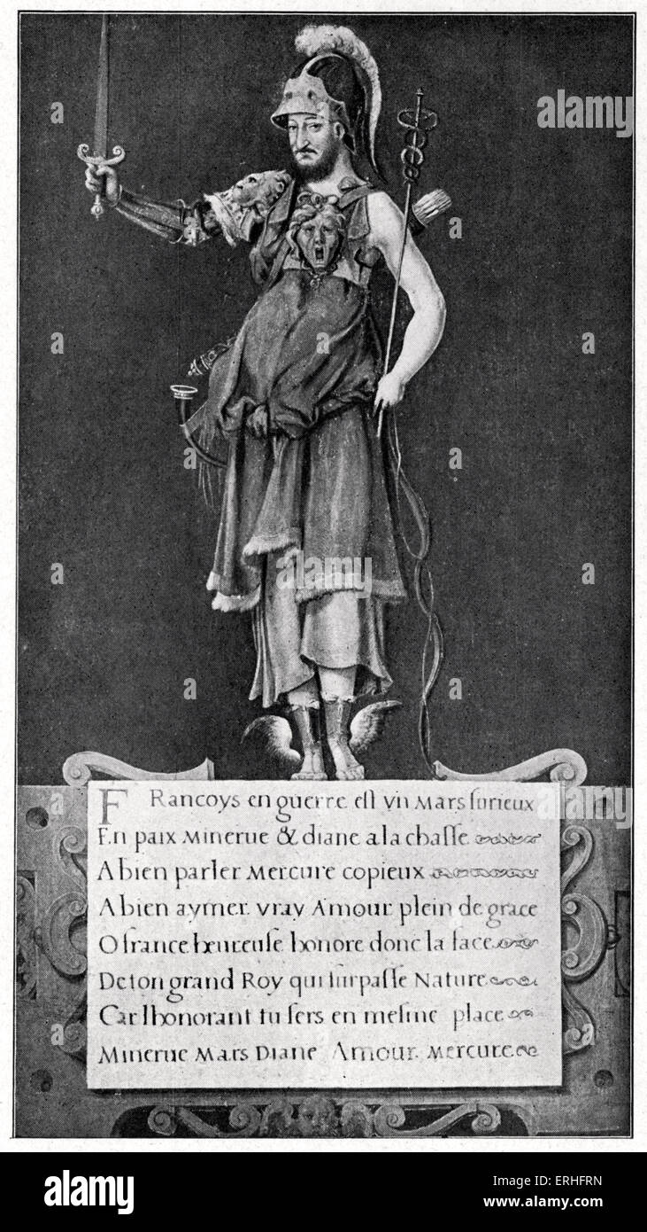 Francois I, patron of Arts and Letters.  Renaissance print glorifying the king and invoking the Roman deities Mars, - Stock Image