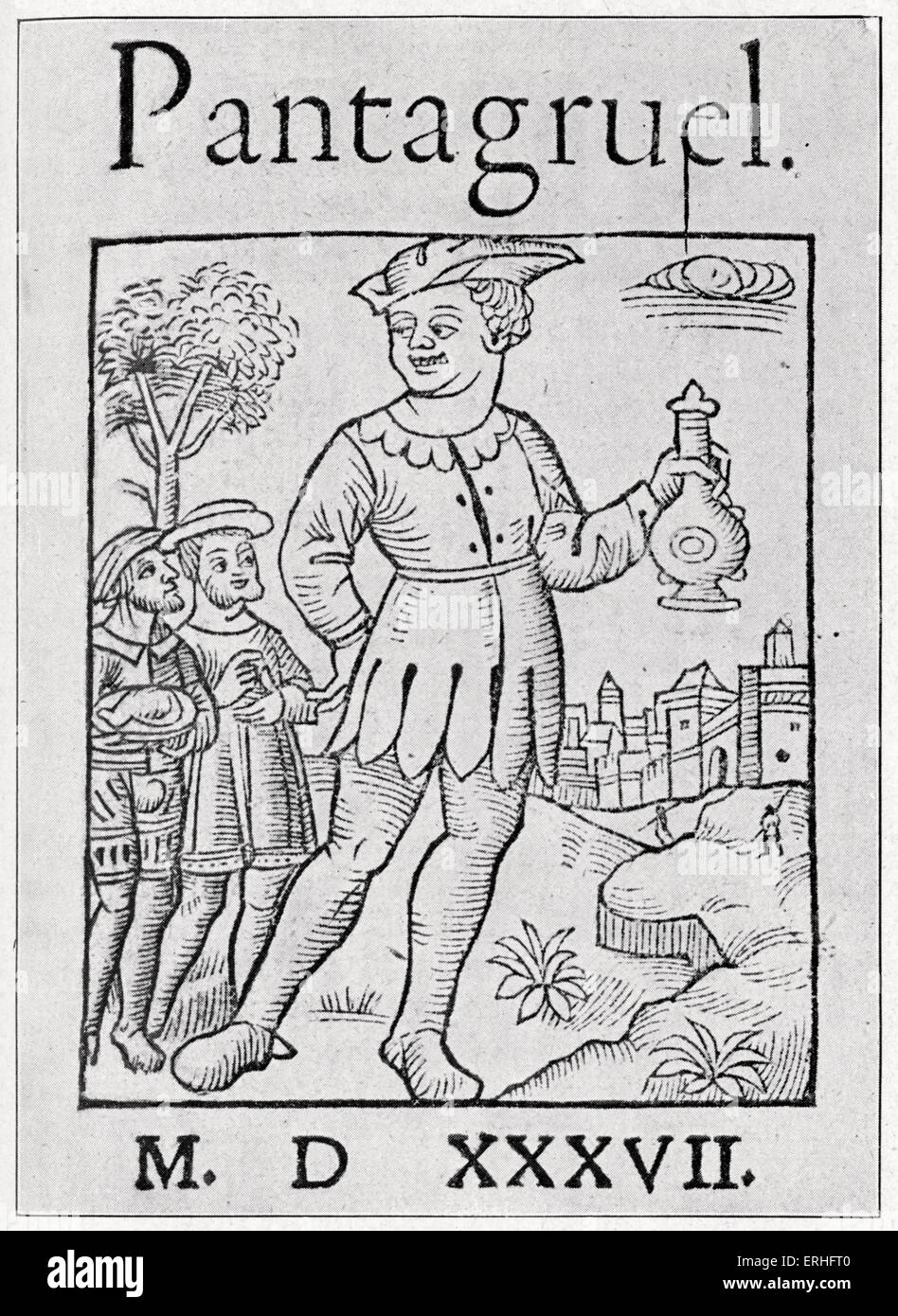 Pantagruel by Francois Rabelais - Engraved frontispiece to the 1537 series.  Son of Gargantua. Two giants travelling in a world