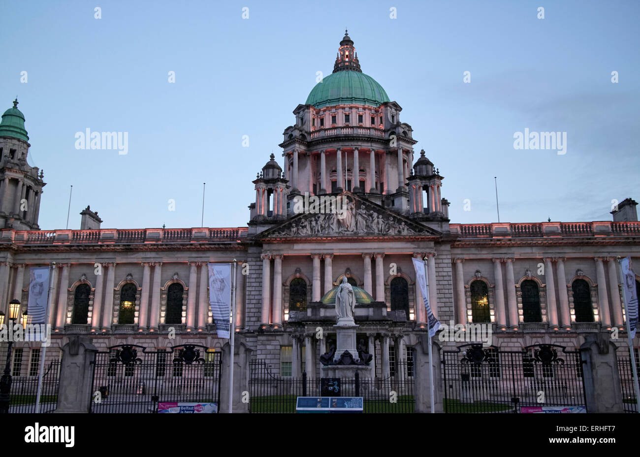 Belfast City Hall in early evening Northern Ireland UK - Stock Image