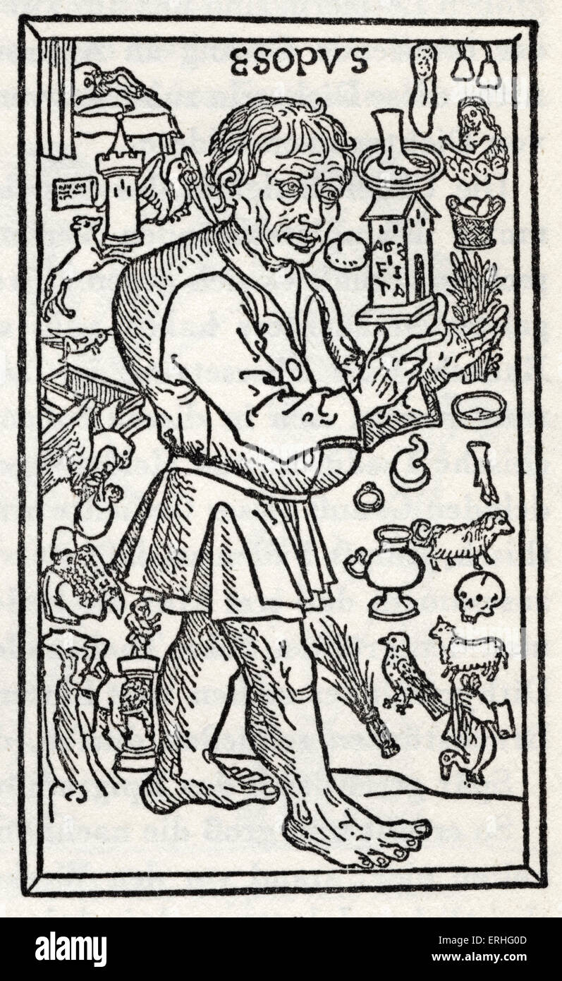 'Aesop's Fables', woodcut from a 1495 German edition.  Ulm. Frontpiece to Caxton 's ' Aesop's - Stock Image