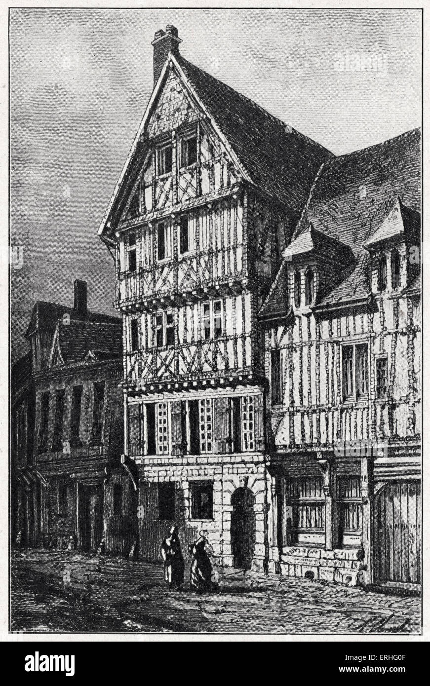 Birthplace of Pierre Corneille, drawing by Hubert Clerget after Beaunis and Dumée.  House on rue de la Pie, - Stock Image