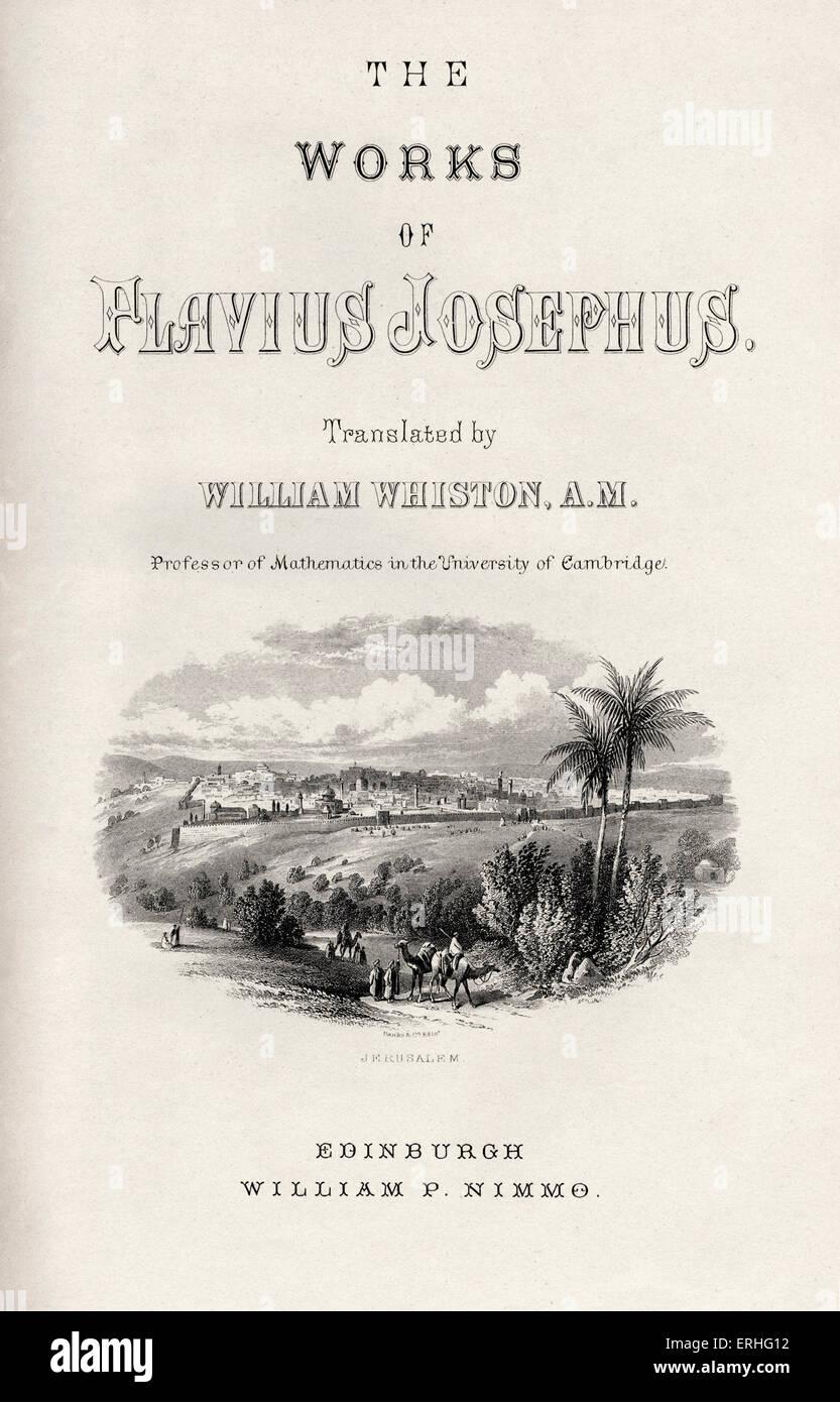 The Works of Flavius Josephus translated by William Whiston. Josephus (c. 37–c. 100) was a 1st century Jewish historian - Stock Image