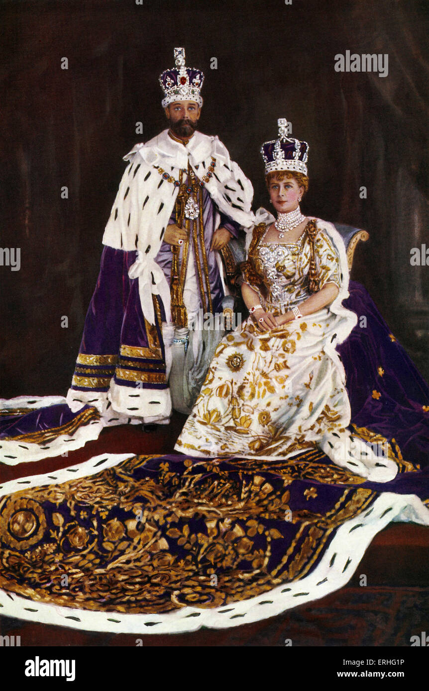 King George V & Queen Mary - in Coronation regalia, 1910 - frontispiece for the Illustrated London News Silver - Stock Image