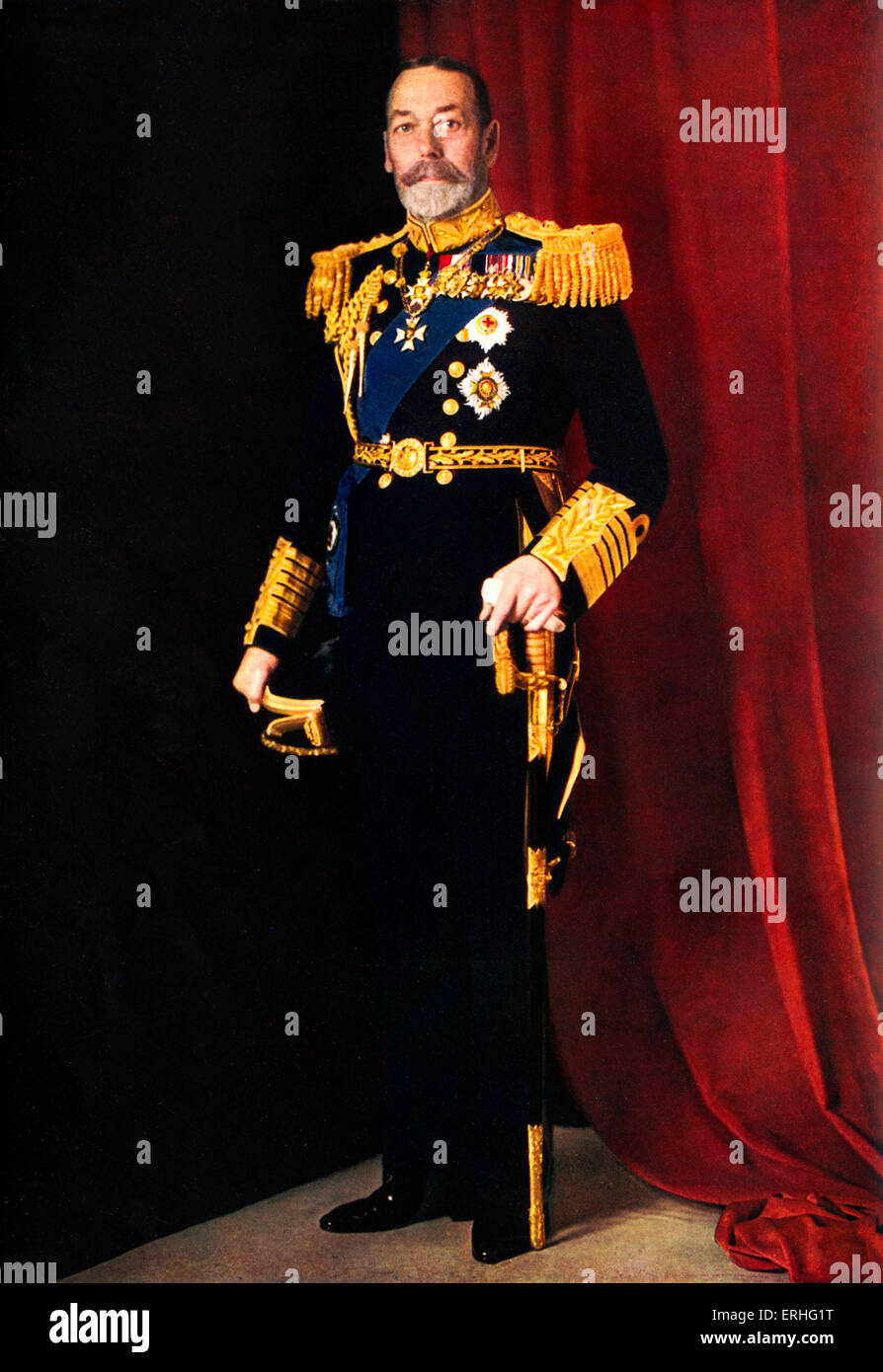 King George V - in full dress uniform with sword in official portrait photograph of 1935.   Colour photograph by - Stock Image