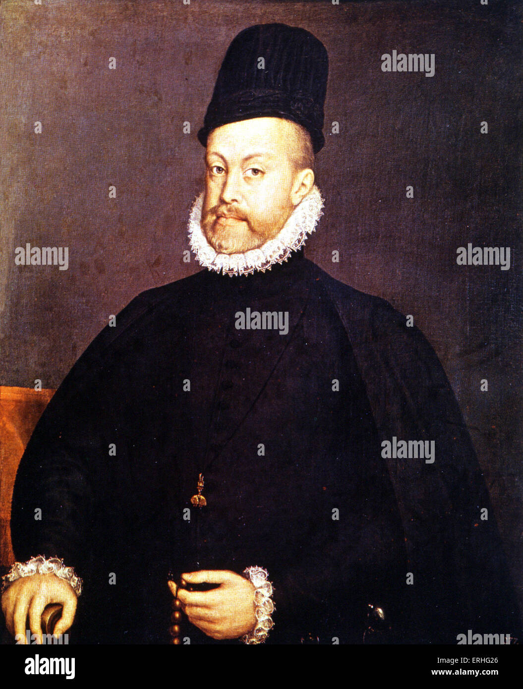 King Philip II (Felipe II) of Spain by Alonso Sanchez Coello, depicted in Verdi 's opera 'Don Carlos'. - Stock Image