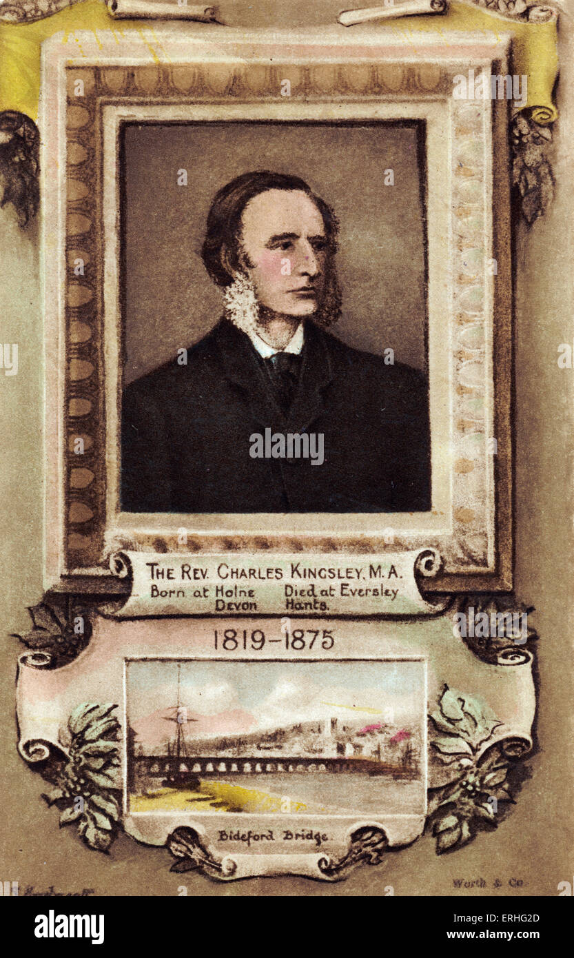 Charles Kingsley  - portrait of the English writer and clergyman, 1863. (1819-75) Wrote 'The Water-Babies'. - Stock Image