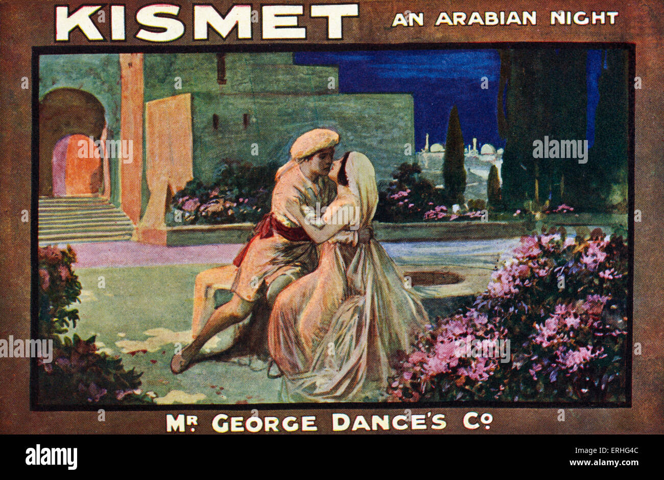 'Kismet - An Arabian Night' - publicity card for the musical by Robert Wright and George Forrest, written - Stock Image