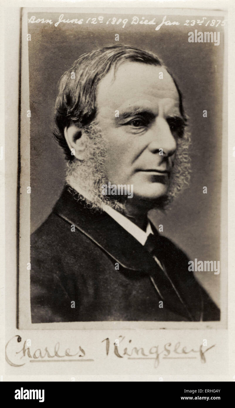 Charles Kingsley portrait photograph - English writer and clergyman. 12 June 1819 - 23 January 1875.  Wrote 'The Stock Photo