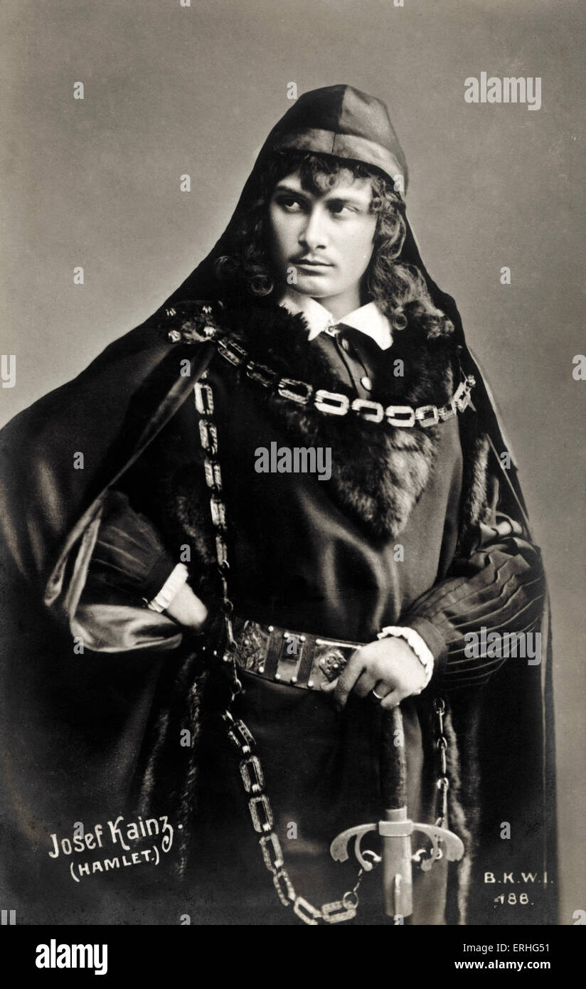 KAINZ, Josef  - in the role of Shakespeare 's Hamlet.  Austrian actor, (1858-1910) - Stock Image