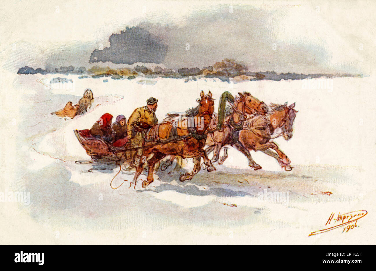 Russian sleigh scene in winter, sleigh being drawn by three horses. Painting by N Karasin, early 20th century. - Stock Image
