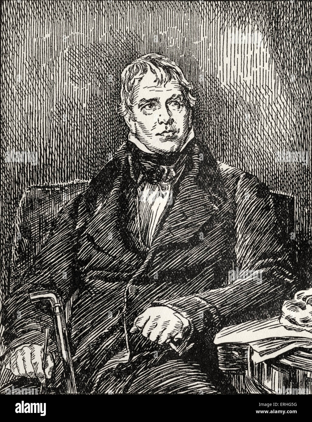 Sir Walter Scott, - portrait of the Scottish writer and poet. 14 August 1771 - 21 September 1832. A drawing from - Stock Image