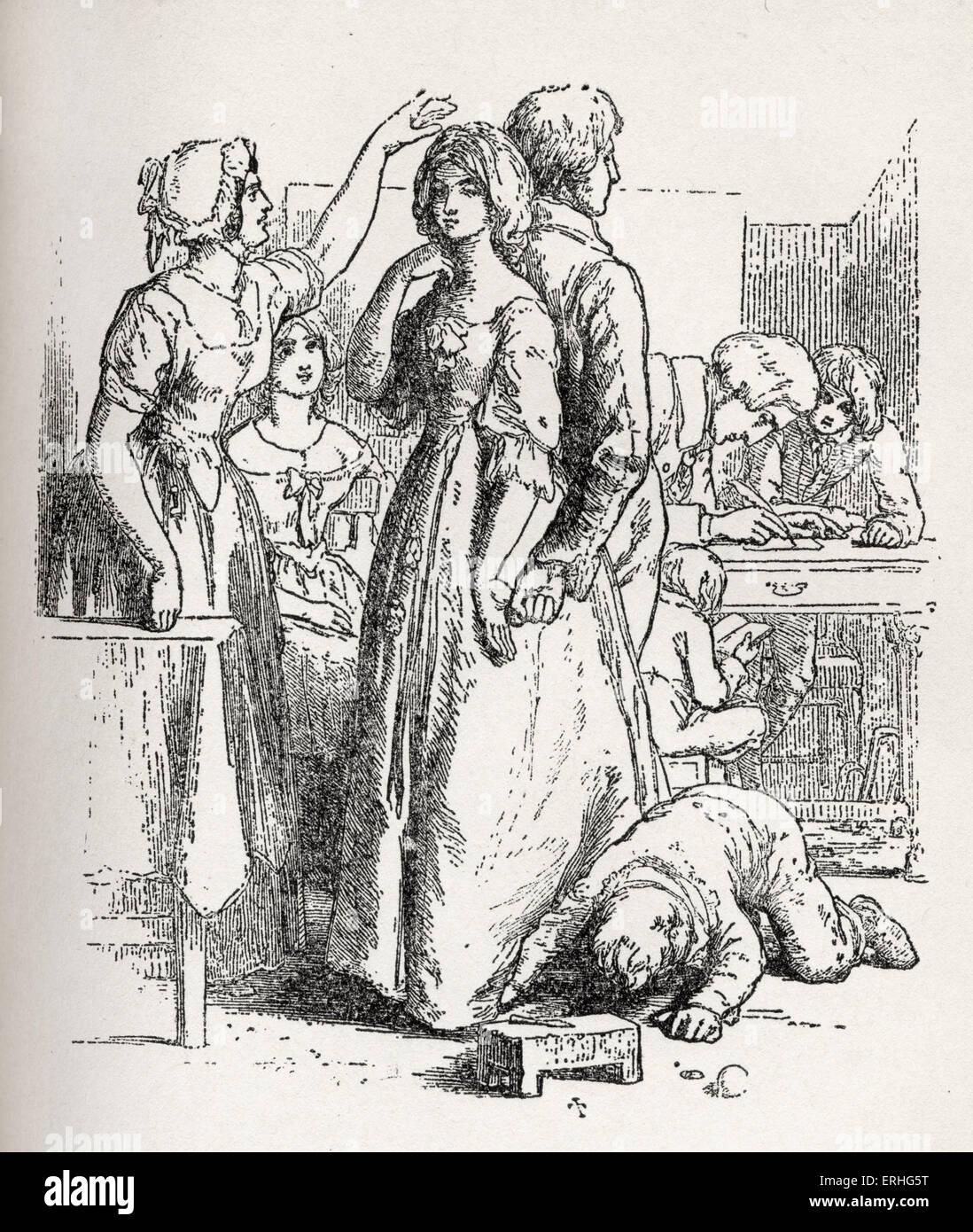 'The Vicar of Wakefield' - illustration from the book by Oliver Goldsmith.  Caption reads: 'then the - Stock Image