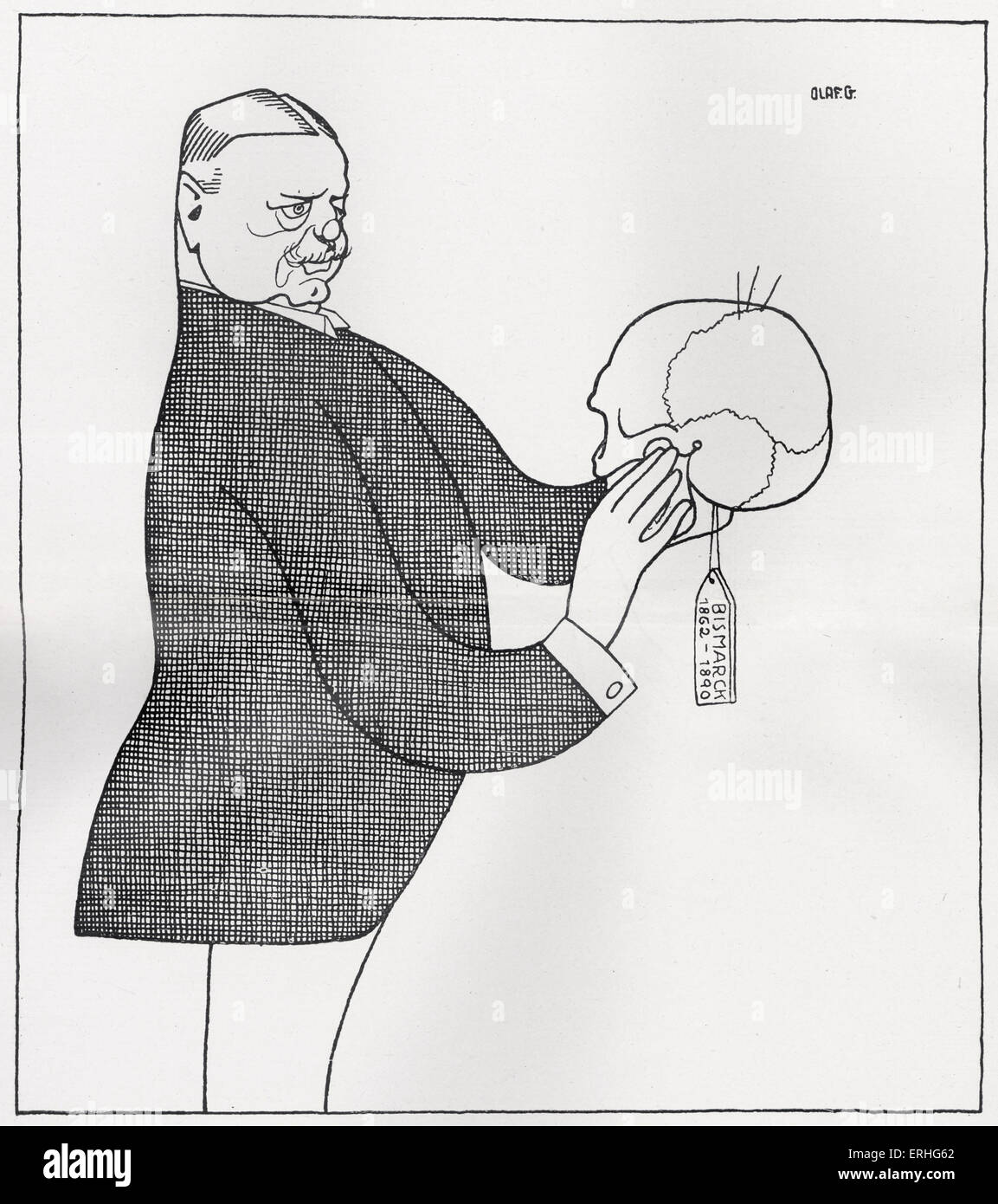 Bernhard von Bulow - caricature of the German Chancellor from Olaf Gulbransson 's 'Beruhmte Zeitgenossen'. - Stock Image