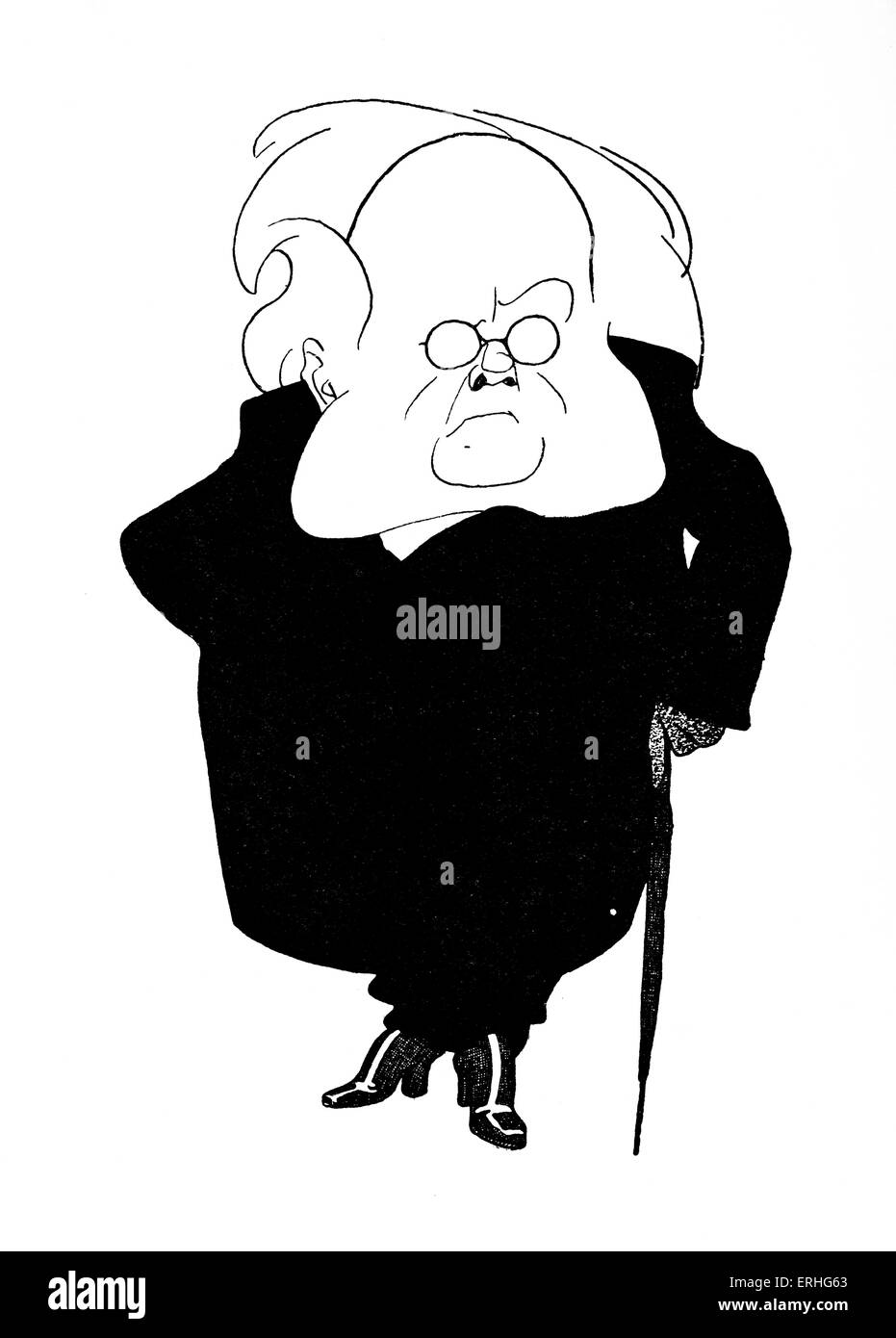 Henrik Ibsen - caricature of the Norwegian playwright from caricaturist Olaf Gulbransson 's 'Beruhmte Zeitgenossen'. - Stock Image