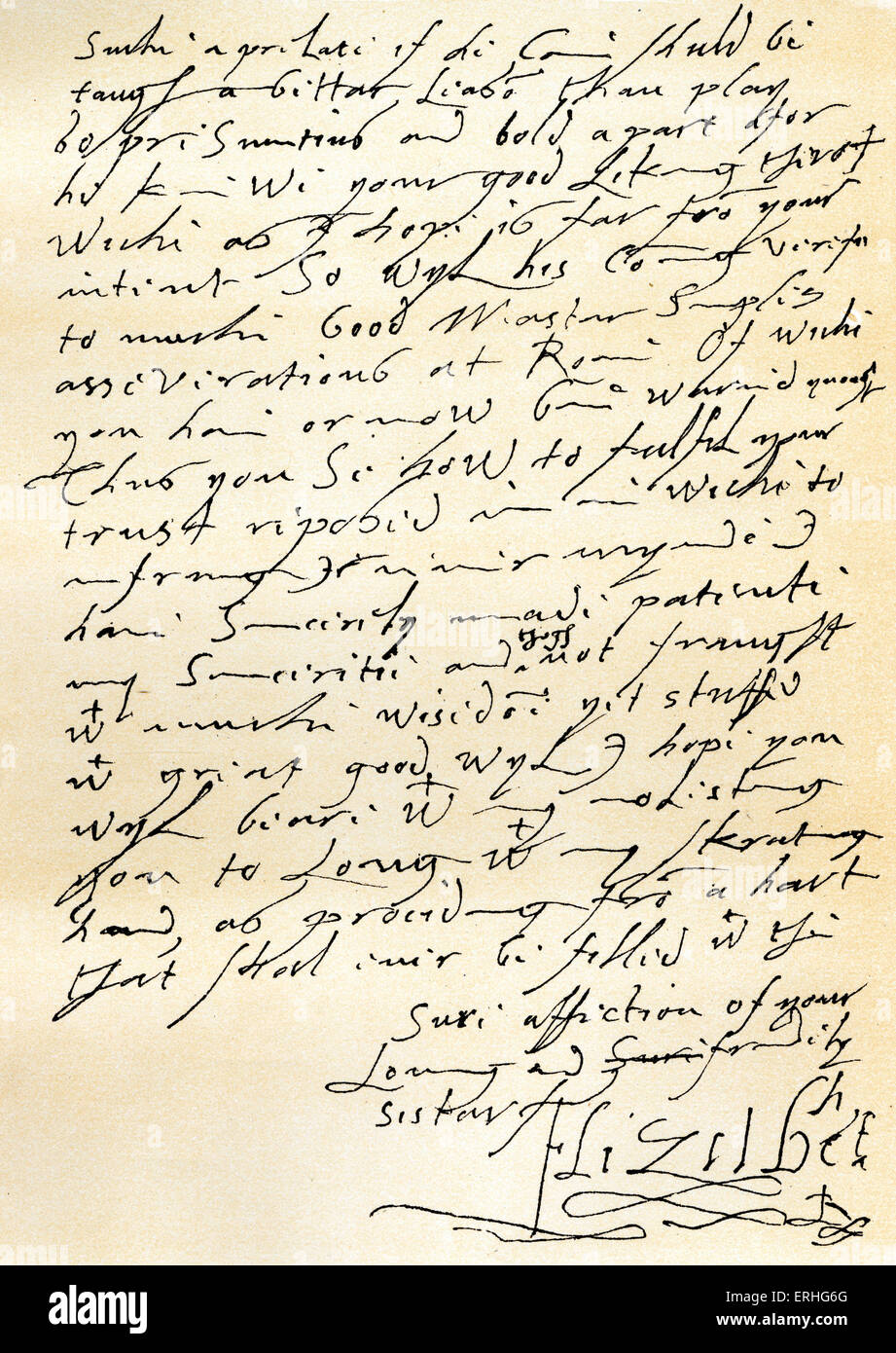 Queen Elizabeth - manuscript letter to James VI of Scotland refuting charges against her policy made by Phillip - Stock Image