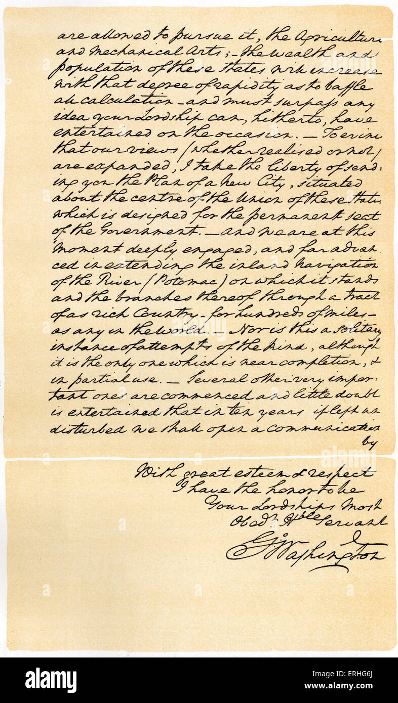 George Washington -  manuscript letter written to Earl of Buchan aiming to guide the United States'  policy - Stock Image