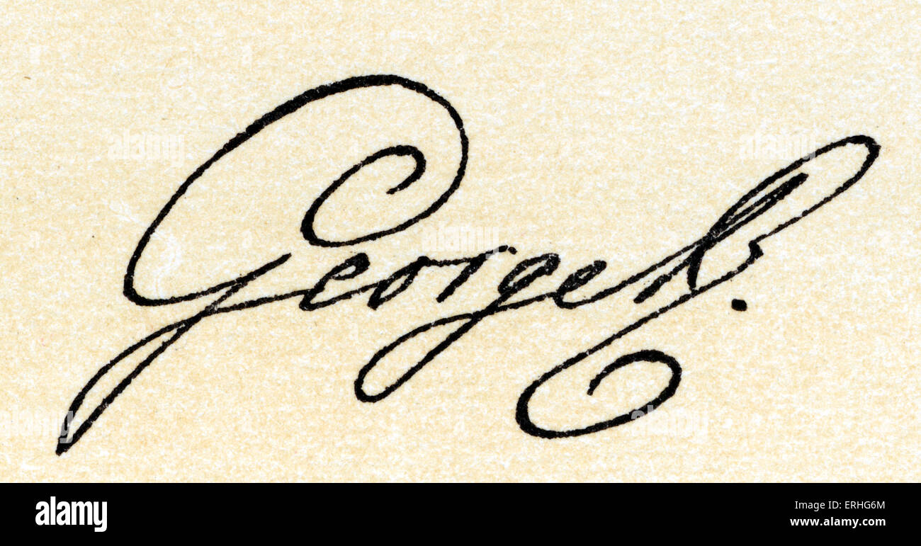 George III - autograph,  King of Great Britain, and Ireland 1760-1801. 4 June 1738 – 29 January 1820 ,  King of - Stock Image