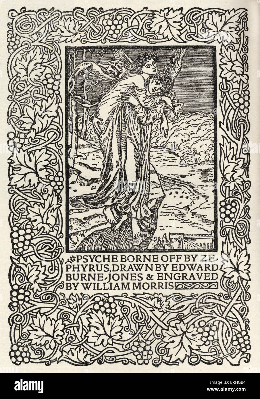 Psyche borne off by Zepyrys', engraving from William Morris' . Illustration from Manifesto for the founding of Kelmscott Stock Photo