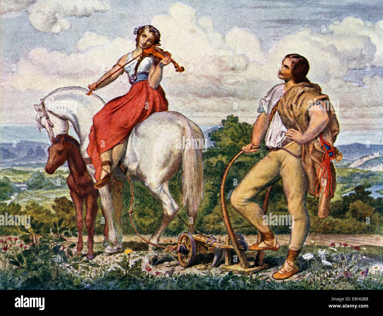 Czech nationalism - painting of 'The Fatherland' showing a woman on horseback playing the violin representing - Stock Image
