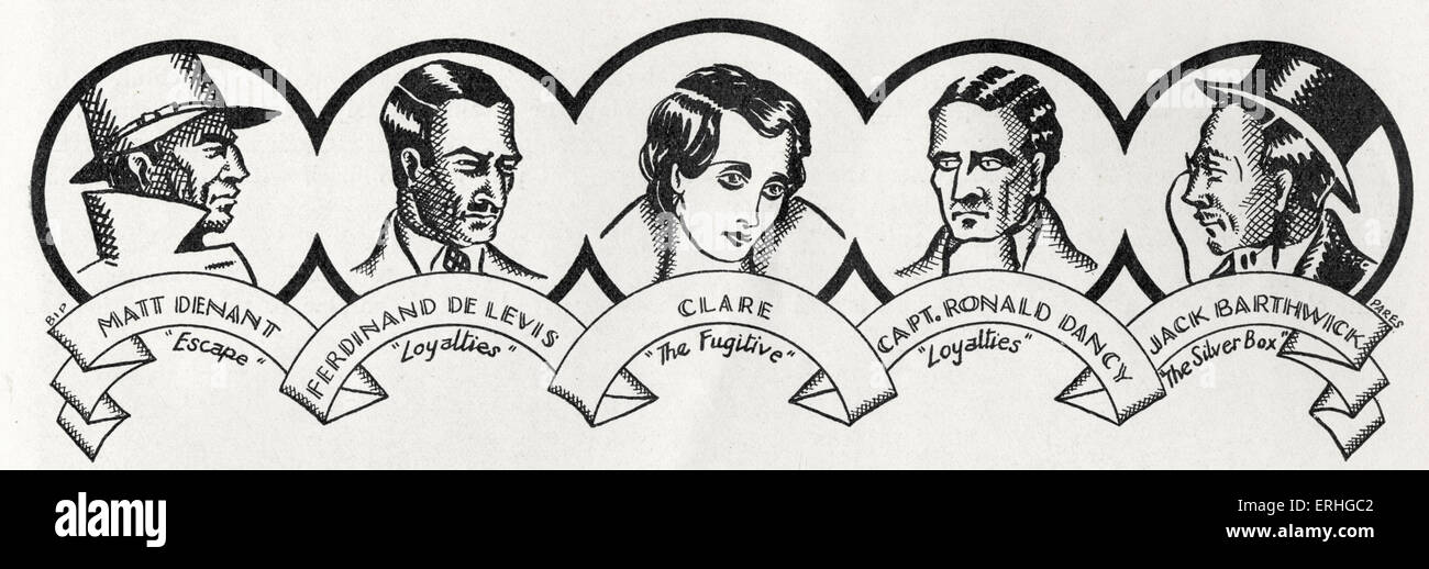 John Galsworthy - portraits of the main male characters from the book series 'The Forsyte Saga' (1906-28) - Stock Image