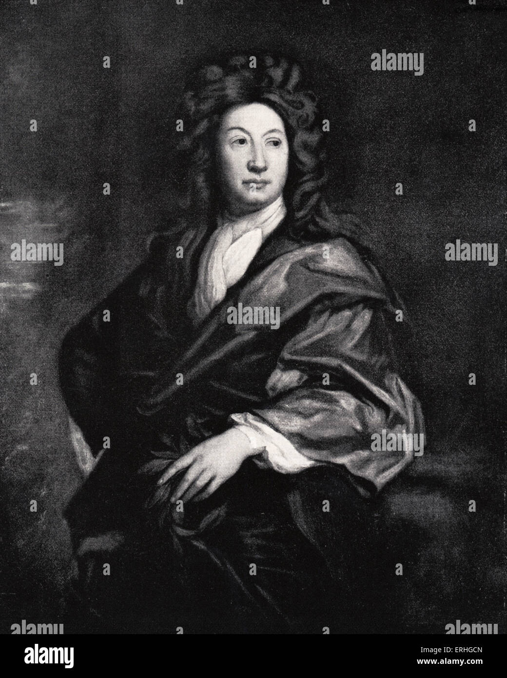 John Dryden, portrait.  English poet, literary critic, and playwright. 19 August 1631 – 12 May 1700. Painting by - Stock Image