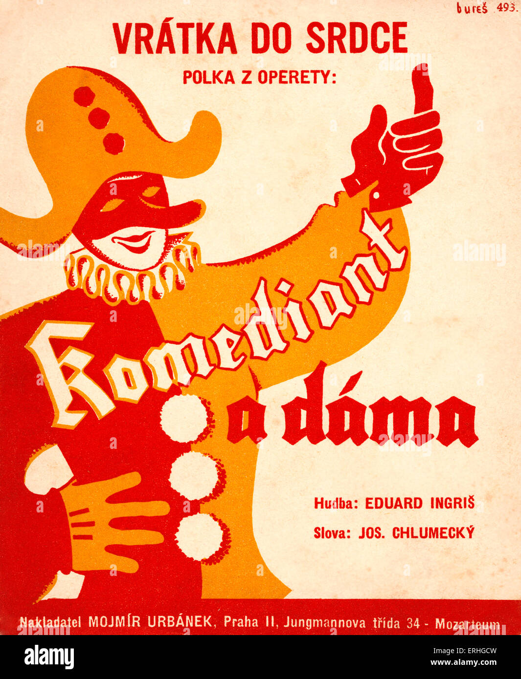 Pierrot / court jester / fool on Czech score cover for polka 'Komediant a dáma', with music by Eduard - Stock Image