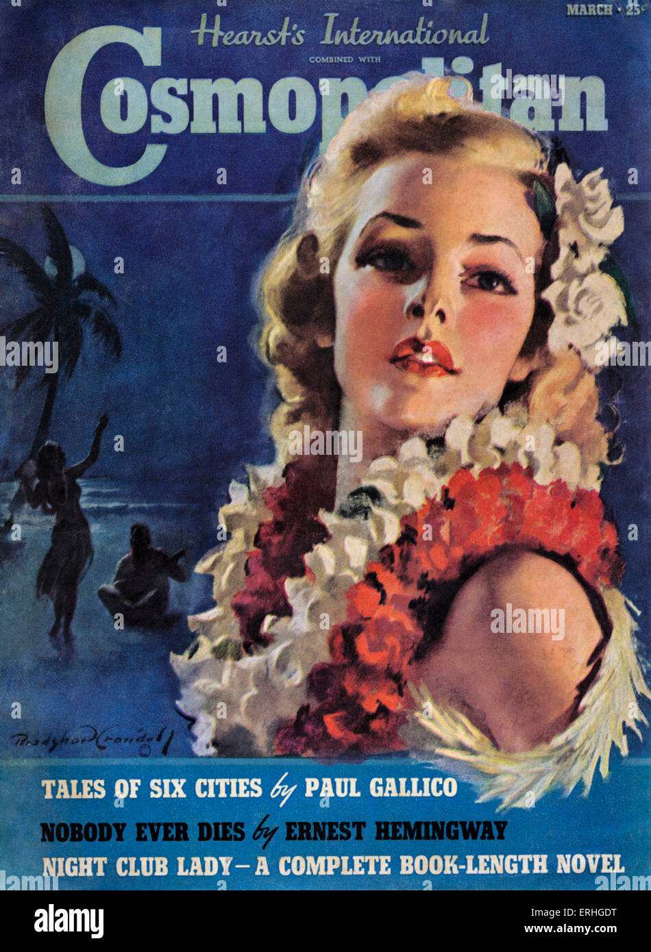 Cosmopolitan Magazine cover. March 1939 issue. Girl with blonde hair and Hawaiian flower lei - illustration for - Stock Image