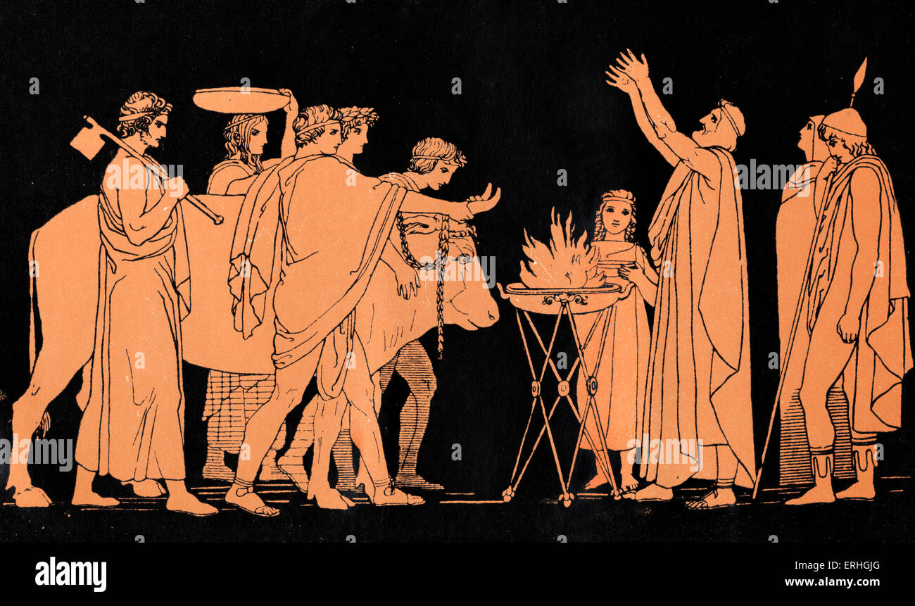Homer, The Odyssey.  Ulysses (Odysseus). Nestor, King of Pylos and a former warrior in the Trojan War, sacrifice - Stock Image