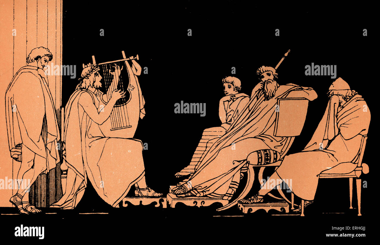 Homer, The Odyssey.  Ulysses (Odysseus) weeps at the song of Demodocus. Alcinous -  King of the Phaeacians.  Minstral - Stock Image