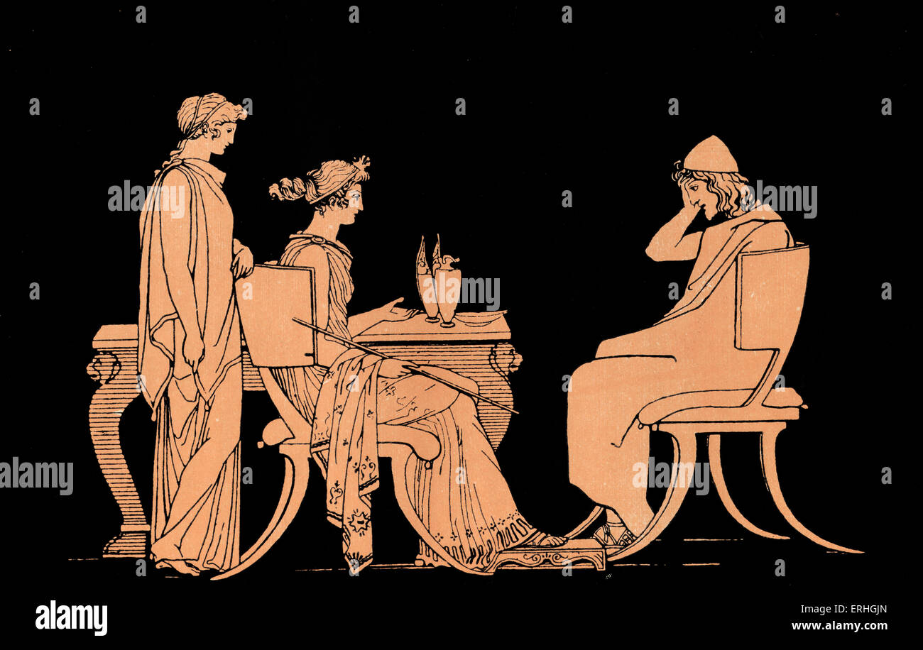 Homer, The Odyssey.  Ulysses (Odysseus) at the table of Circe, a beautiful witch-goddess who transforms Odysseus's - Stock Image