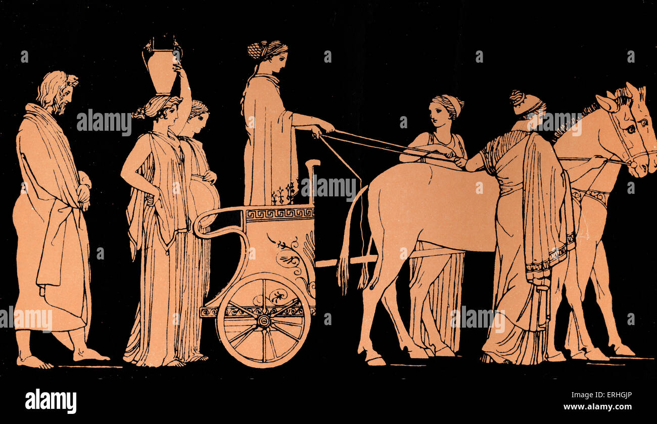 Homer, The Odyssey.  Ulysses (Odysseus) follows the cart of Nausicaa, daughter of  King Alcinous and Queen Arete - Stock Image