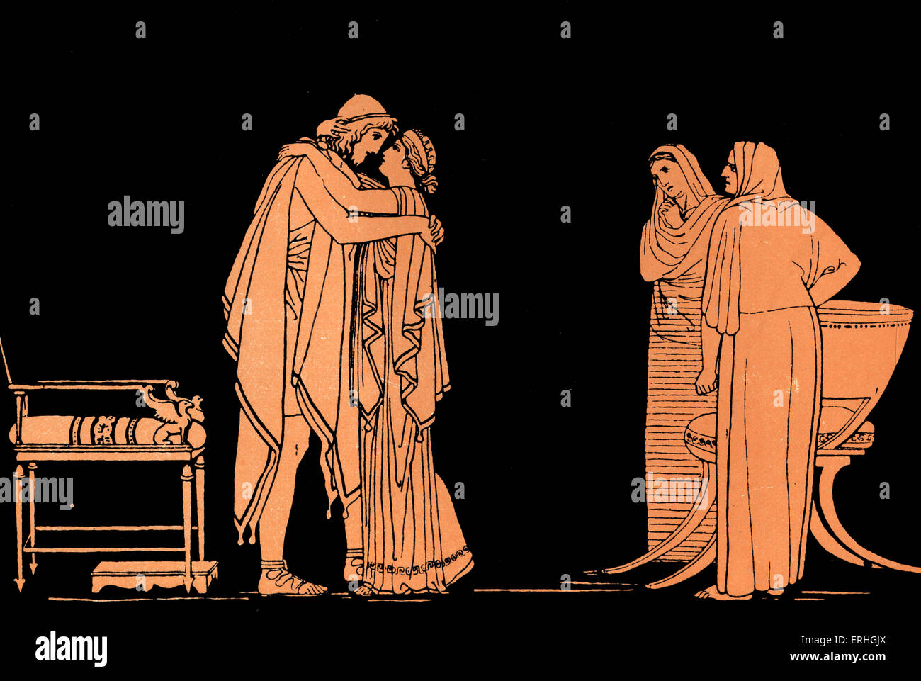 Homer, The Odyssey.   Ulysses (Odysseus) returns to Ithaca after ten years, reunited with his wife Penelope Homer, - Stock Image