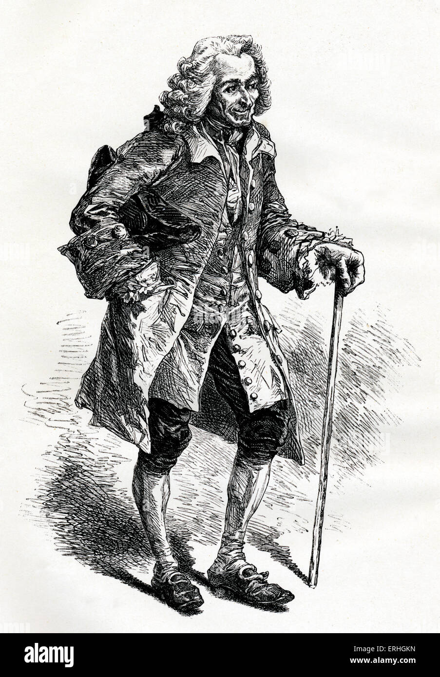 Francois-Marie Arouet / Voltaire - portrait of the French writer and philosopher as an old man with a walking stick. 21 November 1694 - 30 May 1778. Stock Photo