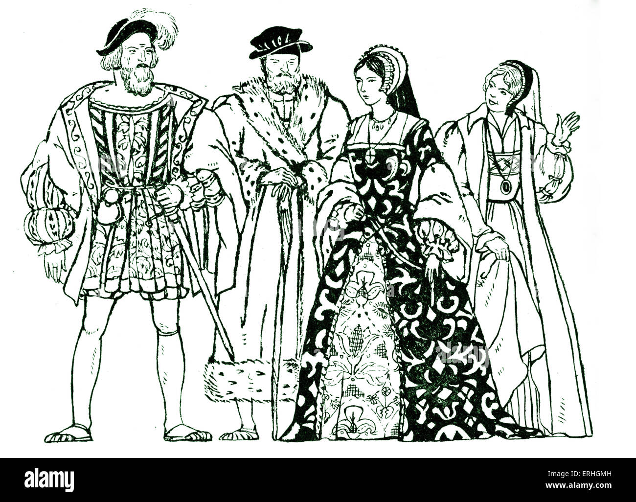 Elizabethan England - typical costumes from the reign of Queen Elizabeth I, with two men and two women. QEI: 7 September - Stock Image