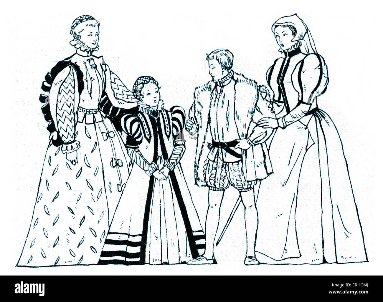 Elizabethan England - typical costumes from the reign of Queen Elizabeth I, with two women, a young man and a young - Stock Image