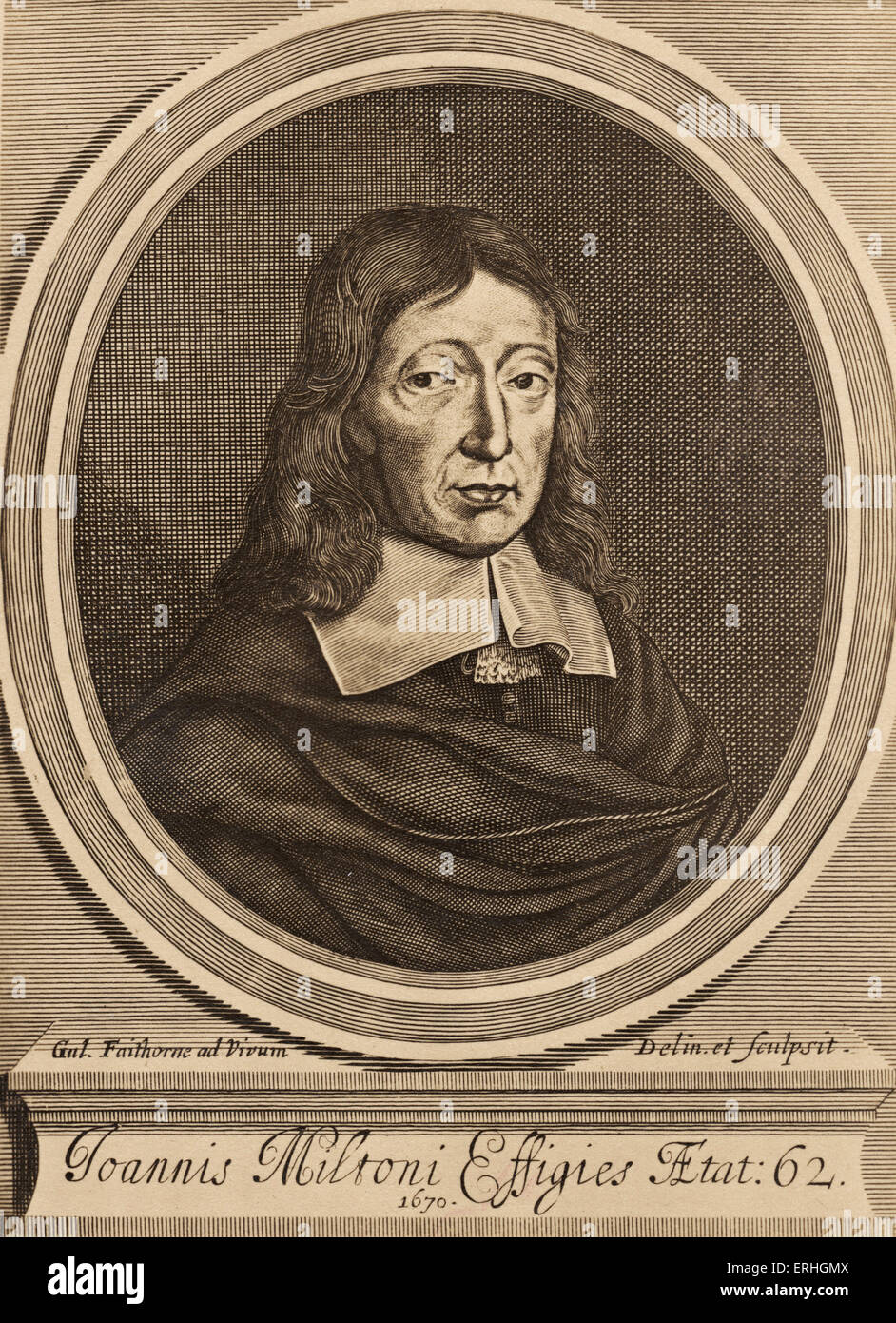 John Milton, engraved portrait.  English poet, 9 December 1608 – 8 November 1674. - Stock Image