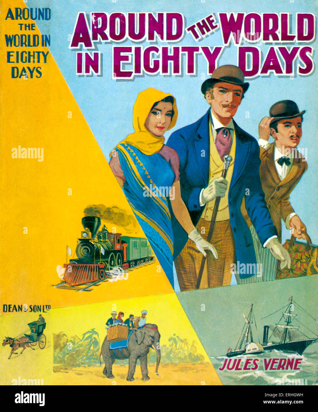 Around The World In Eighty Days By Jules Verne Dust Jacket Cover Published London Dean Adventure Travel Story