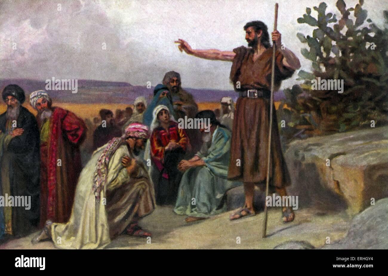 John the Baptist - illustration of the biblical figure preaching in the wilderness, Matthew III, verse 1. - Stock Image
