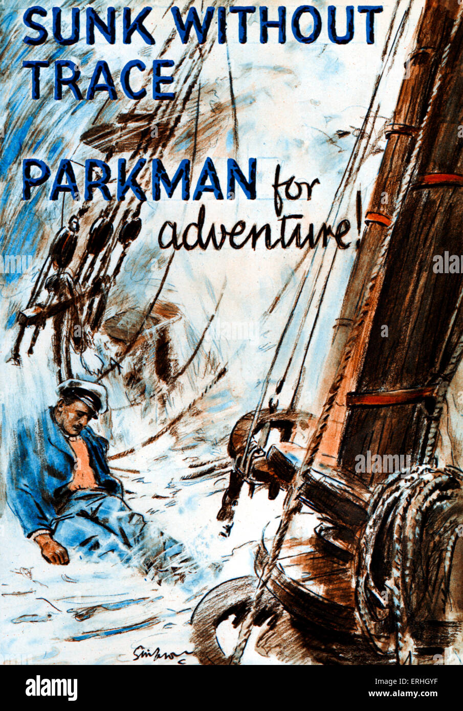 'Sunk Without Trace' by Sydney M. Parkman. Boys Own Adventure story book cover shows boat in a stormy sea - Stock Image