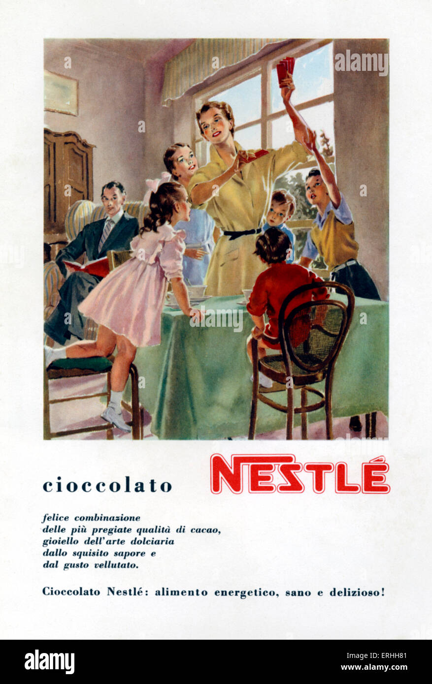 Advertisement for Nestlé chocolate showing a happy family with mother, five children and father in chair watching. - Stock Image
