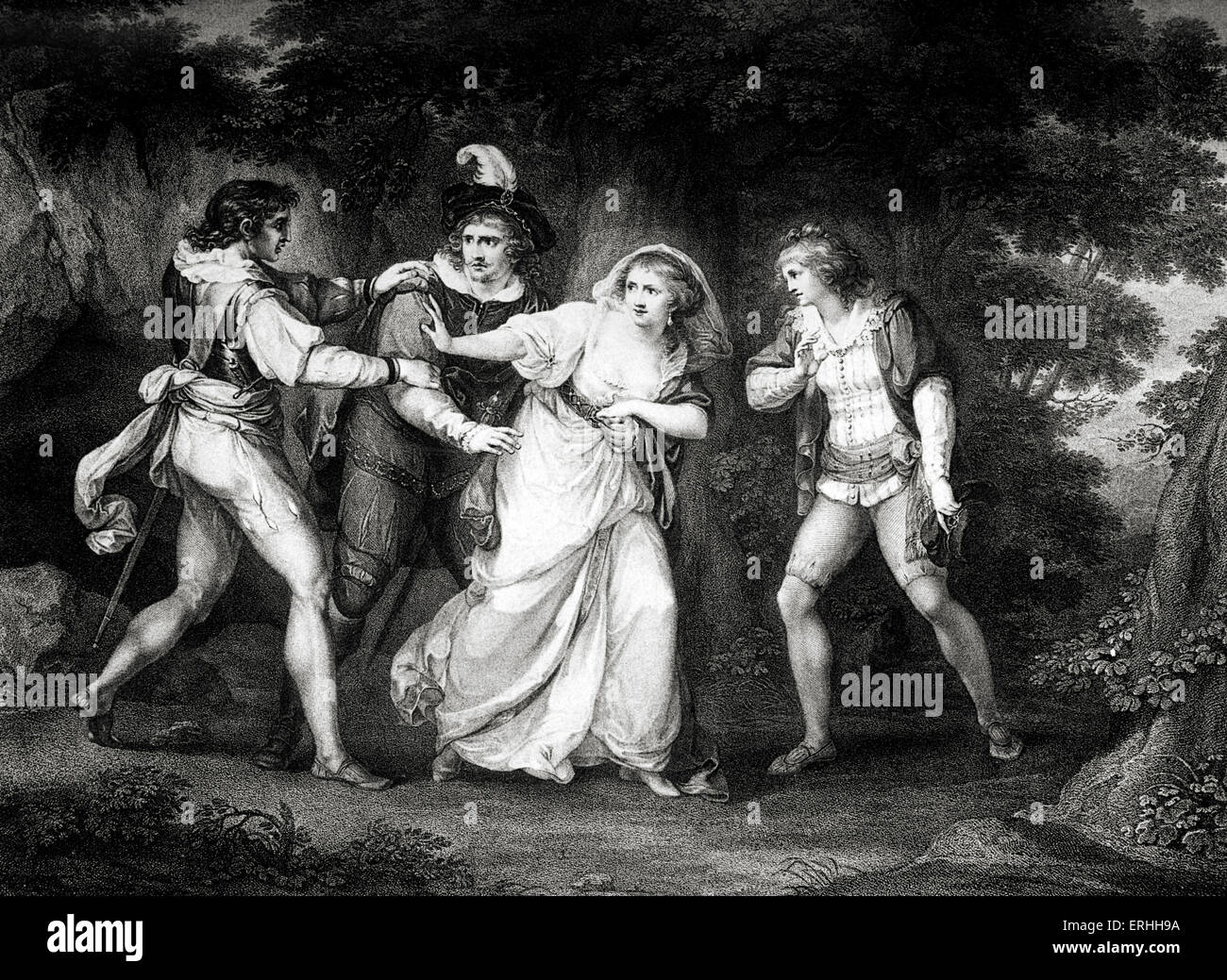 William Shakespeare 's play The Two Gentlemen of Verona  -  Act V Scene IV : Valentine , Proteus , Silvia and - Stock Image